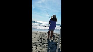 Connie catching fish
