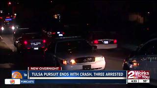 Three arrested after pursuit ends with crash in Tulsa