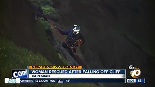 Woman rescued after falling from cliff