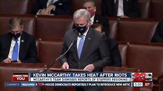 Minority Leader Kevin McCarthy receives backlash after D.C. riot