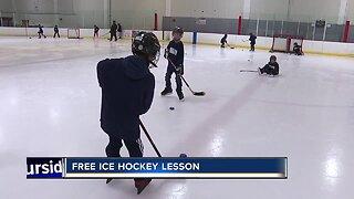Kids get free hockey lessons