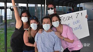 COVID-19 survivor leaves hospital to cheers and hugs