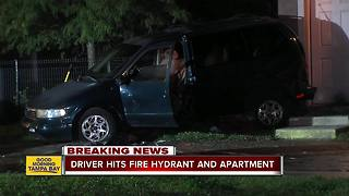 Driver hits fire hydrant and apartment