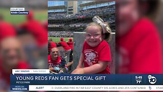 Young Reds fan gets special surprise at Petco Park