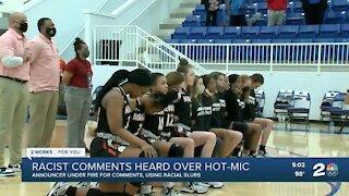 Announcer under fire for comments, using racial slurs