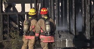 Home under construction catches fire in northwest Vegas valley