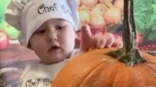 2.5-year-old social media star shows us how to carve a pumpkin