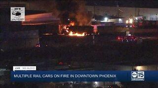 Train derailment and fire in downtown Phoenix