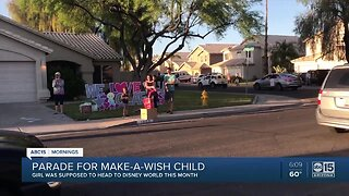 Parade for Make A Wish girl who couldn't make it to Disney World