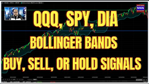 Bollinger Band Signals for Buy Hold or Sell QQQ SPY OR DIA
