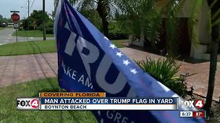 Man attacked over political flag