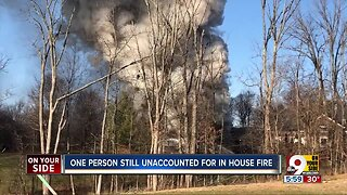 One person missing after large house fire in Union, Ky.
