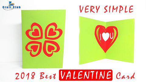 Happy Valentine Card | Pop Up Heart Card Tutorial | Handmade Valentine Card 2018 | Lina's Craft Club
