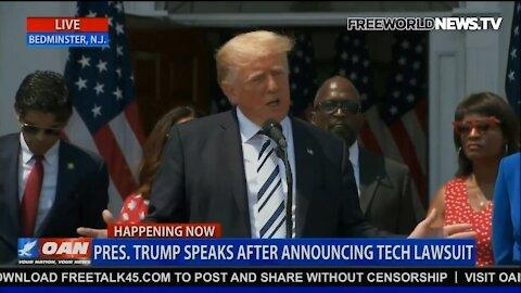 Trump Answering Media Questions Re Trump v Big Tech