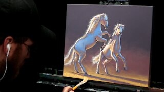 Acrylic Wildlife Painting of White Horses - Time-lapse - Artist Timothy Stanford