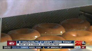 $1 doughnuts at Krispy Kreme today