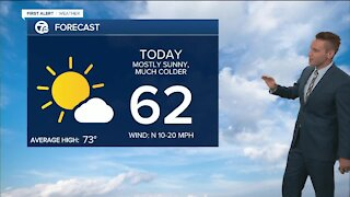 Chilly day with temps in the low 60s today