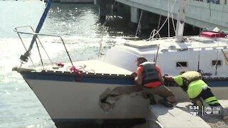 Boat crashes into bridge in southwest Florida during Tropical Storm Eta