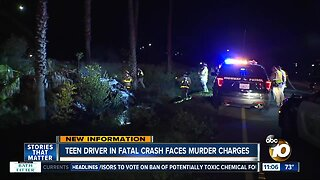 Teen driver in fatal crash facing murder charges