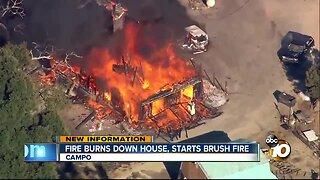 Fire burns down house, starts brush fire