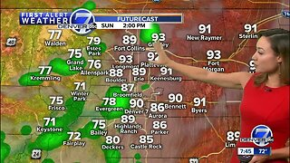 Warm Sunday, with late-day scattered storms