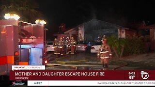 Mom, daughter escape Escondido house fire