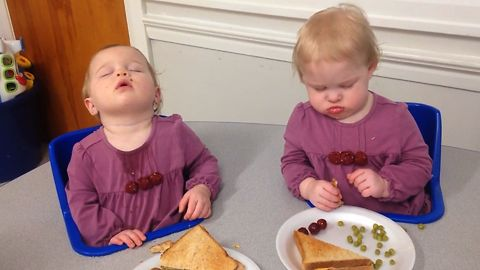 Twin Babies Doze Off After Lunch
