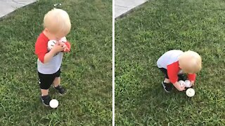 Toddler hilariously struggles to pick up three balls at once