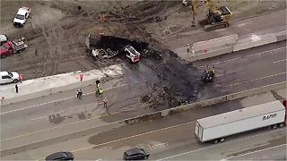 Texas tractor trailer caught fire on major highway