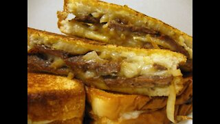 Pepper Jack Venison Steak and Onion Sandwich