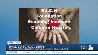 The R.I.C.H. Foundation seeking donations for its back to school drive for Baltimore students