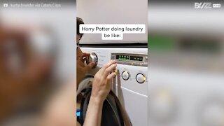 Jovens interpretam música de Harry Potter com uma máquina de lavar