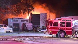 Crews battle fire at Rocky River auto body shop