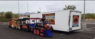 Local family asking for help locating stolen trailer, hand-crafted train