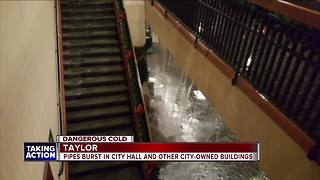 Taylor cleaning up after pipes burst in municipal buildings
