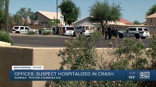 Officer, suspect hospitalized in crash