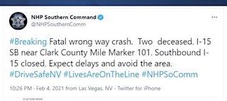 Deadly wrong-way crash closes I-15 near Moapa Valley