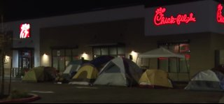 People camping out at new Chick-fil-A