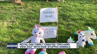 Royal Oak family creates stuffed animal zoo on their front lawn
