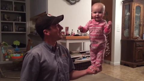 4-month-old baby shows off amazing balancing skills