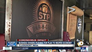 Business owners pushing for plan to reopen economy