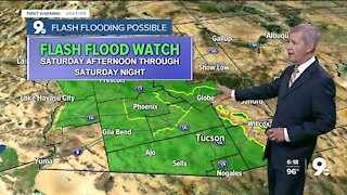 A Flash Flood Watch goes into effect Saturday afternoon