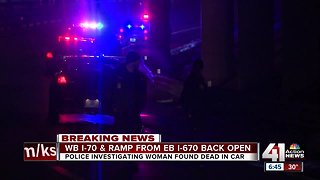 I-70 reopens after woman found dead in vehicle