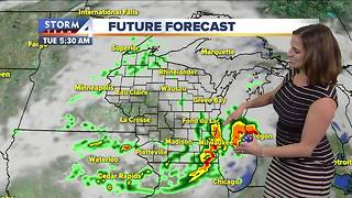 Showers, storms possible late Monday