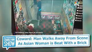 Coward: Man Walks Away From Scene As Asian Woman is Beat With a Brick