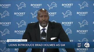 Lions introduce Brad Holmes as GM