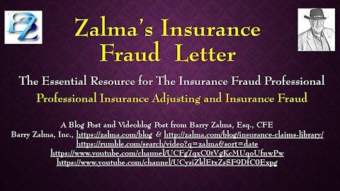 ZALMA'S INSURANCE FRAUD LETTER