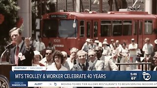 MTS Trolley and employee celebrate 40 years of service