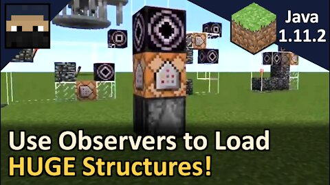 How to Use Observers to Load HUGE Structures In One Structure Block! Minecraft Java 1.11.2