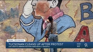 Cleanup in downtown Tucson after another night of protests